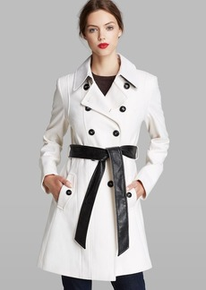 DKNY Trench Coat - Blake Double Breasted Faux Leather Detail