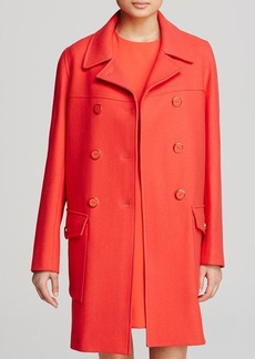 DKNY Wool Twill Double Breasted Coat