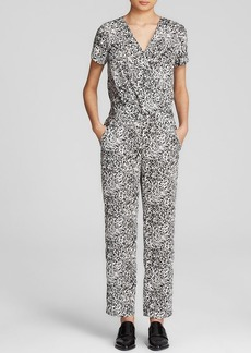 DKNYC Animal Print Faux Wrap Jumpsuit