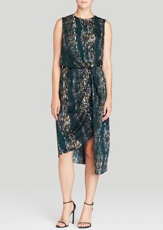 DKNYC Asymmetric Mixed Print Dress
