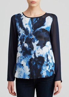 DKNYC Chiffon Watercolor Print Blouse