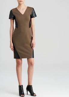 DKNYC Faux Leather Inset Dress