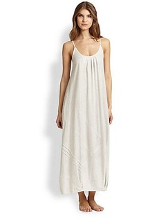 Donna Karan Asymmetrical Pintucked Cotton Jersey Gown
