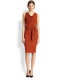 Donna Karan Belted Draped Dress