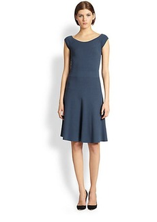 Donna Karan Cap-Sleeve Fit-And-Flare Dress