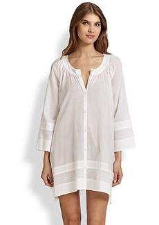 Donna Karan Cotton Stripe-Paneled Sleepshirt