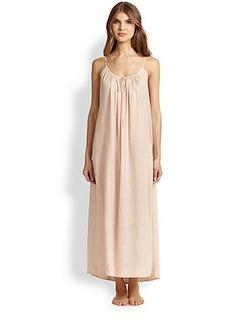 Donna Karan Drawstring-Neck Cotton Gown