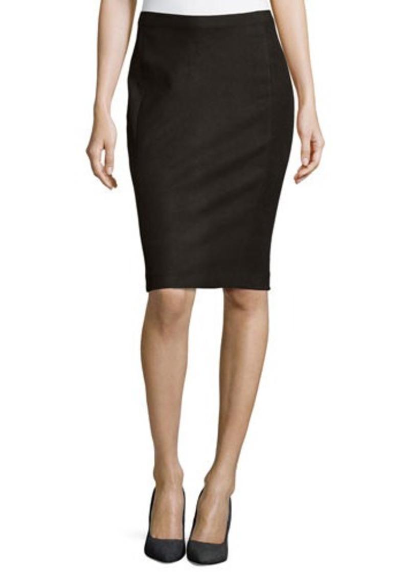 dkny donna karan lambskin leather skirt black