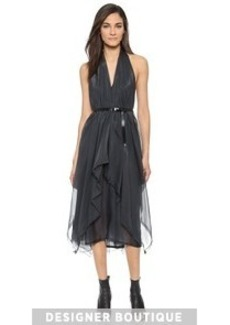 Donna Karan New York Belted Halter Handkerchief Cocktail Dress