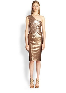 Donna Karan One-Shoulder Ombré Cocktail Dress
