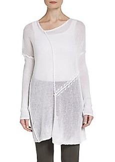 Donna Karan Open-Knit Linen Tunic Sweater