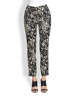 Donna Karan Printed Cropped Slim-Leg Pants