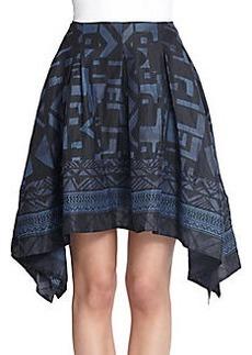 Donna Karan Scarf-Print Draped Skirt