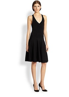 Donna Karan V-Neck Fit-&-Flare Dress