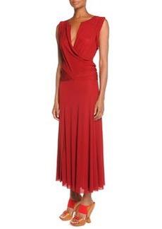 Drape-Front Drop-Waist Dress, Brick Red   Drape-Front Drop-Waist Dress, Brick Red