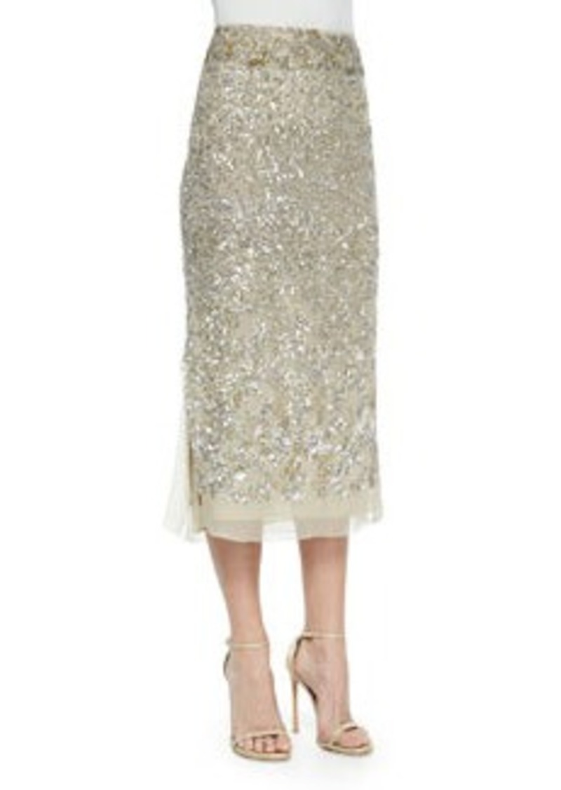 dkny embroidered midi skirt parchment platinum