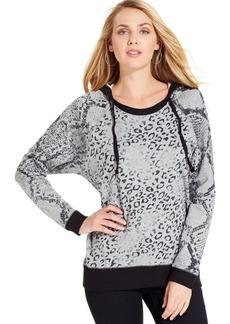 DKNY Jeans Animal-Print Hooded Sweatshirt