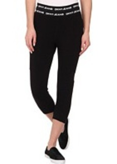 DKNY Jeans Cropped Leggings with Mesh in Noir