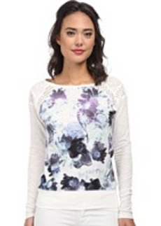 DKNY Jeans Floral Print Sweatshirt w/ Mesh Trim