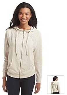 DKNY JEANS® Lace Pieced Zip Hoodie