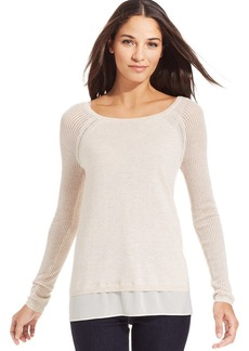 DKNY Jeans Layered-Look Mixed-Media Sweater