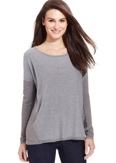 DKNY Jeans Long-Sleeve Ribbed Metallic-Knit Sweater