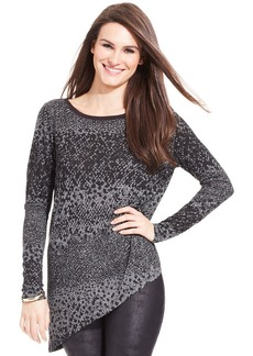DKNY Jeans Long-Sleeve Snakeskin-Print Top