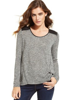 DKNY Jeans Metallic-Knit Faux-Leather-Panel Sweater
