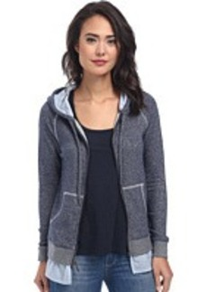 DKNY Jeans Mixed Media Zip Hoodie
