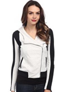 DKNY Jeans Pieced Jacquard and Scuba Moto Hoodie Jacket