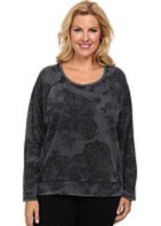 DKNY Jeans Plus Size Lace Print Burnout Fleece Rhinestud Sweatshirt