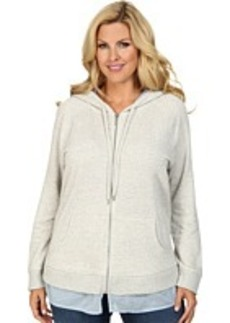 DKNY Jeans Plus Size Media Mixed Zip Hoodie