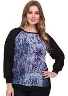 DKNY Jeans Plus Size Printed Heavy Chiffon CBO Top