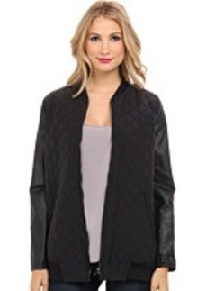 DKNY Jeans Quilted Sandwashed Modal Combo Bomber Coat