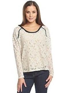 DKNY JEANS® Shoulder Zip Lace Top