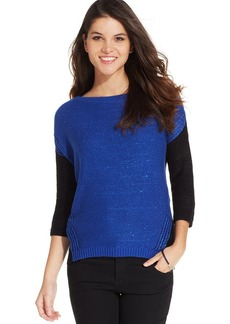 DKNY Jeans Three-Quarter-Sleeve Colorblocked Sweater