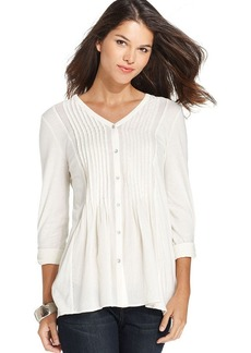 DKNY Jeans Three-Quarter-Sleeve Pintuck Pleat Top