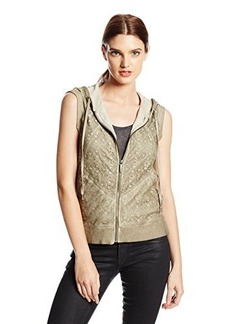 DKNY Jeans Women's Dirty Wash Lace Full Zip Sweatshirt Vest