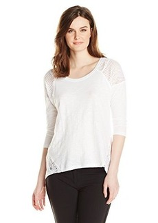 DKNY Jeans Women's Eyelet and Lace Pigment Dye Top