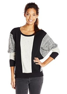 DKNY Jeans Women's Marled and Solid Pieced Sweatshirt