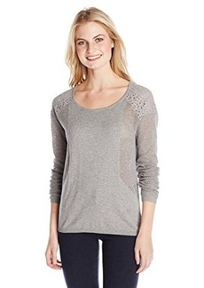 DKNY Jeans Women's Mesh and Lace Mix Sweater