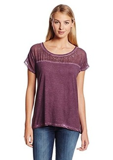 DKNY Jeans Women's Mixed Fabric Cold Pigment Pieced Top