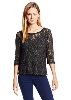 DKNY Jeans Women's Novelty Wash Lace Shirt