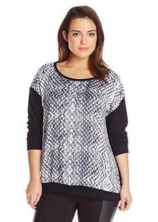 DKNY Jeans Women's Plus-Size Diamond Snake Sweatshirt