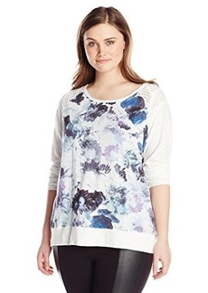 DKNY Jeans Women's Plus-Size Floral Print Sweatshirt with Mesh Trim