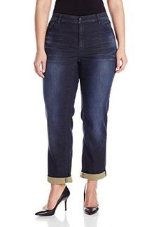 DKNY Jeans Women's Plus-Size Knit Boyfriend Jean - Flex Wash