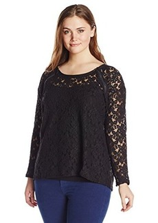 DKNY Jeans Women's Plus-Size Lace Top with Faux Leather and Zip Trim