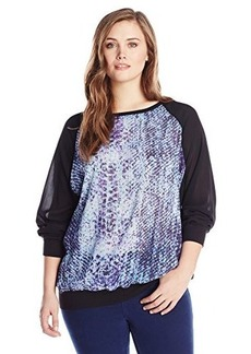 DKNY Jeans Women's Plus-Size Printed Heavy Chiffon Top