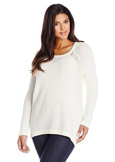 DKNY Jeans Women's Plus-Size Sequin Pullover with Placed Mesh