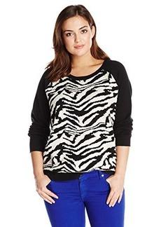 DKNY Jeans Women's Plus-Size Zebra Sweatshirt Pullover